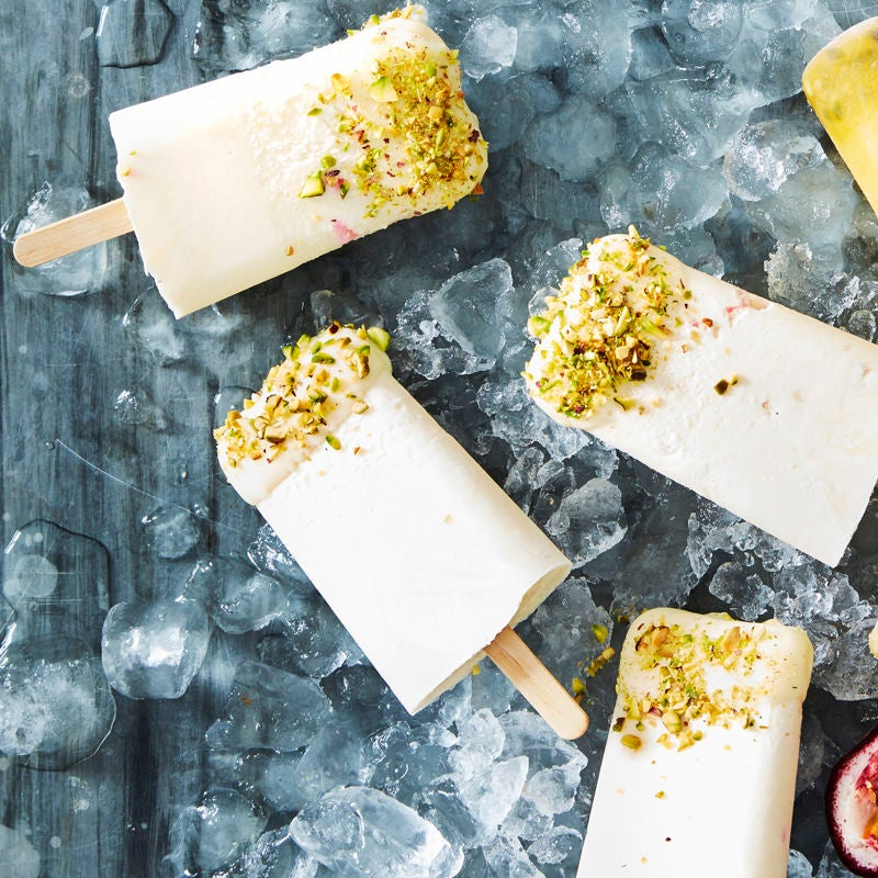 Photo of Yogurt & rosewater rocky road ice lollies by WW