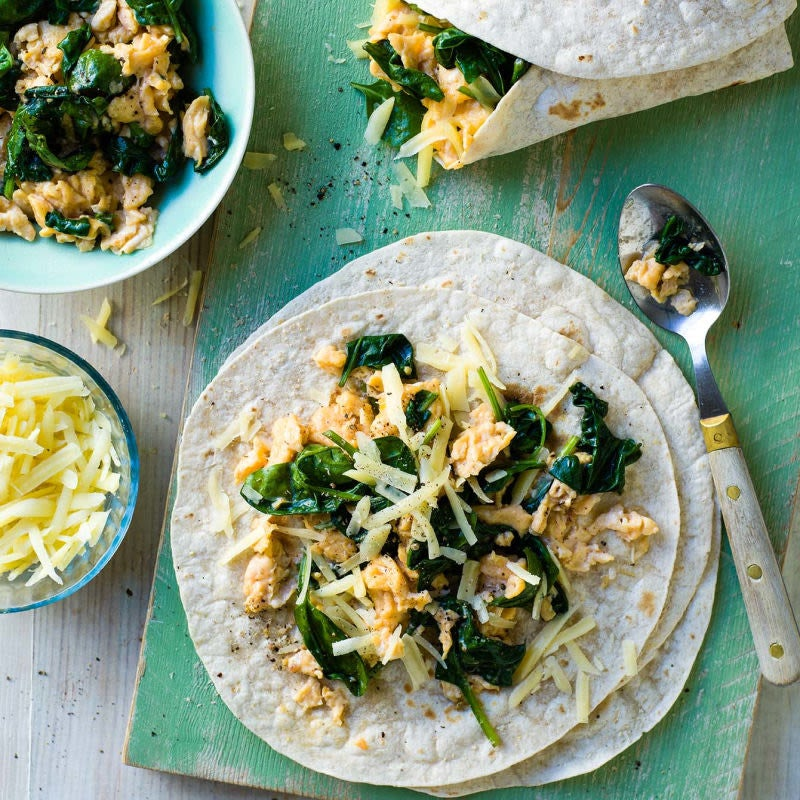 Photo of Scrambled egg & spinach wraps - serves 1 by WW