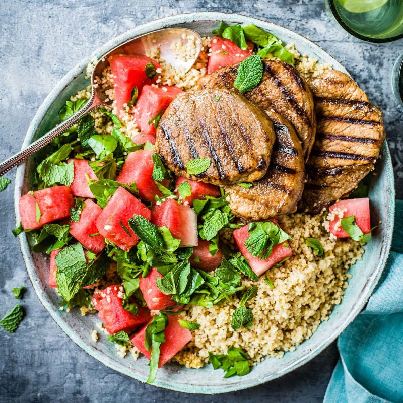 Photo of Griddled pork steaks with mint & watermelon salad by WW