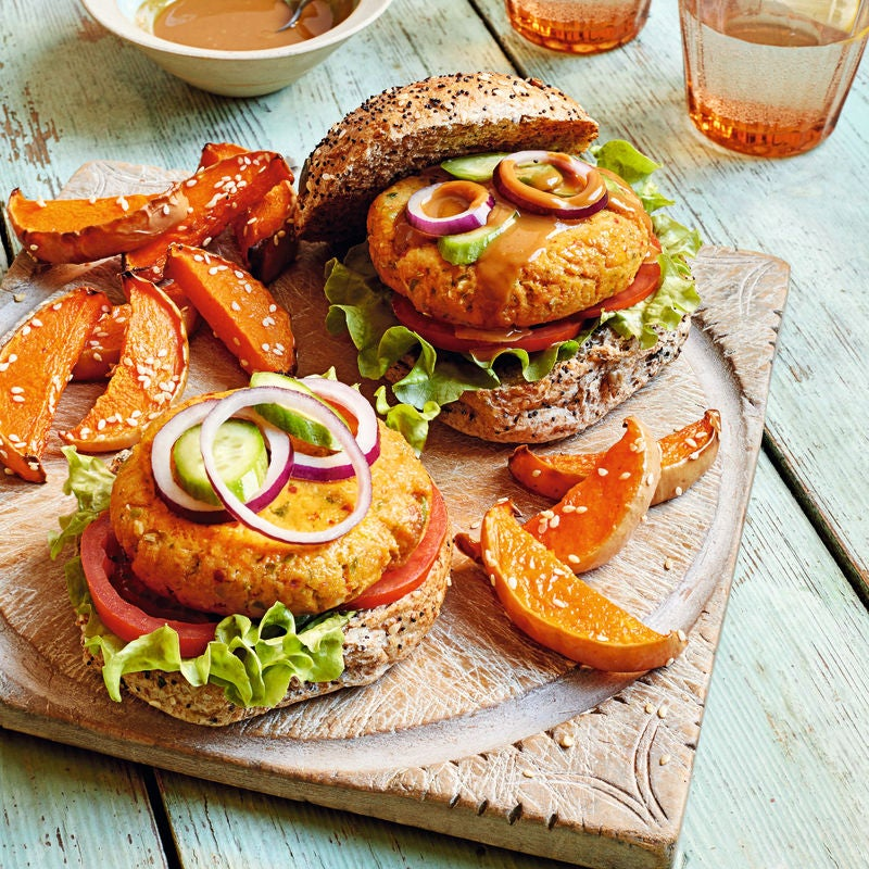 Photo of Chilli & peanut tofu burgers with wedges by WW
