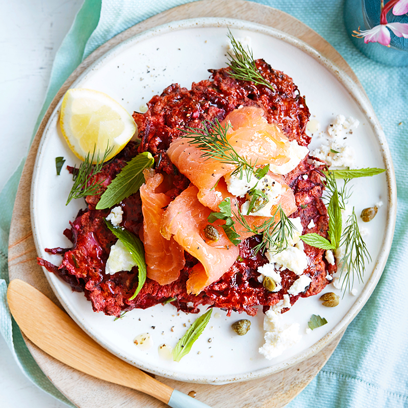 Photo of Beetroot & cauliflower fritters topped with smoked salmon by WW