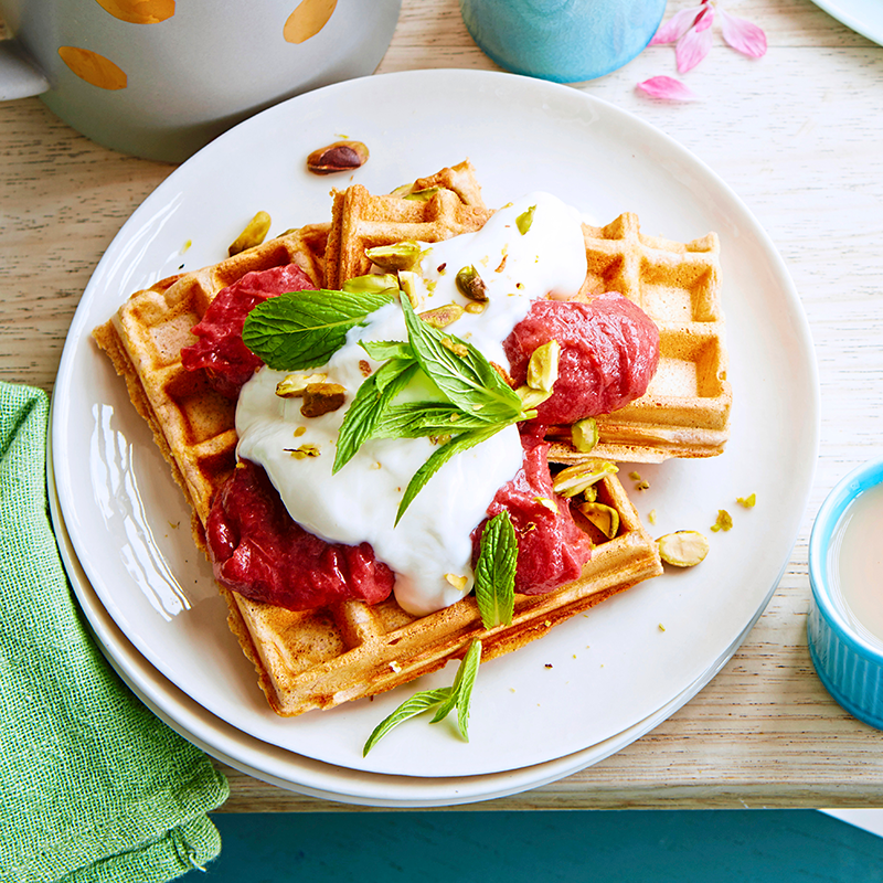 Photo of Banana waffles with rhubarb & date purée by WW