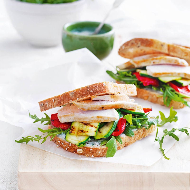 Photo of Chicken & griddled veg sandwich with basil mayo by WW