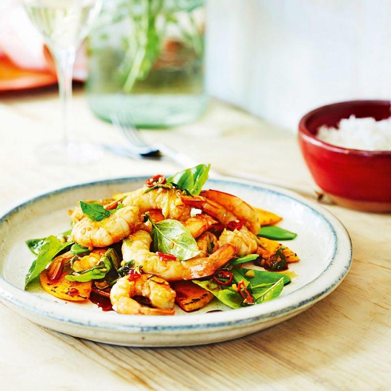 Photo of Spicy prawn & butternut squash stir-fry with basil by WW