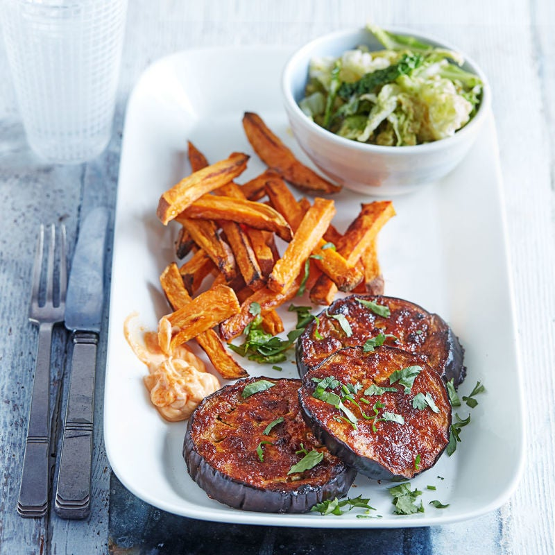 Photo of Miso-glazed aubergine steaks with cabbage & chips by WW