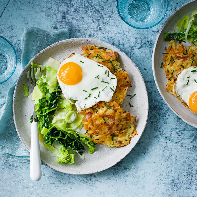 Photo of Potato &  bacon fritters with fried eggs & greens by WW