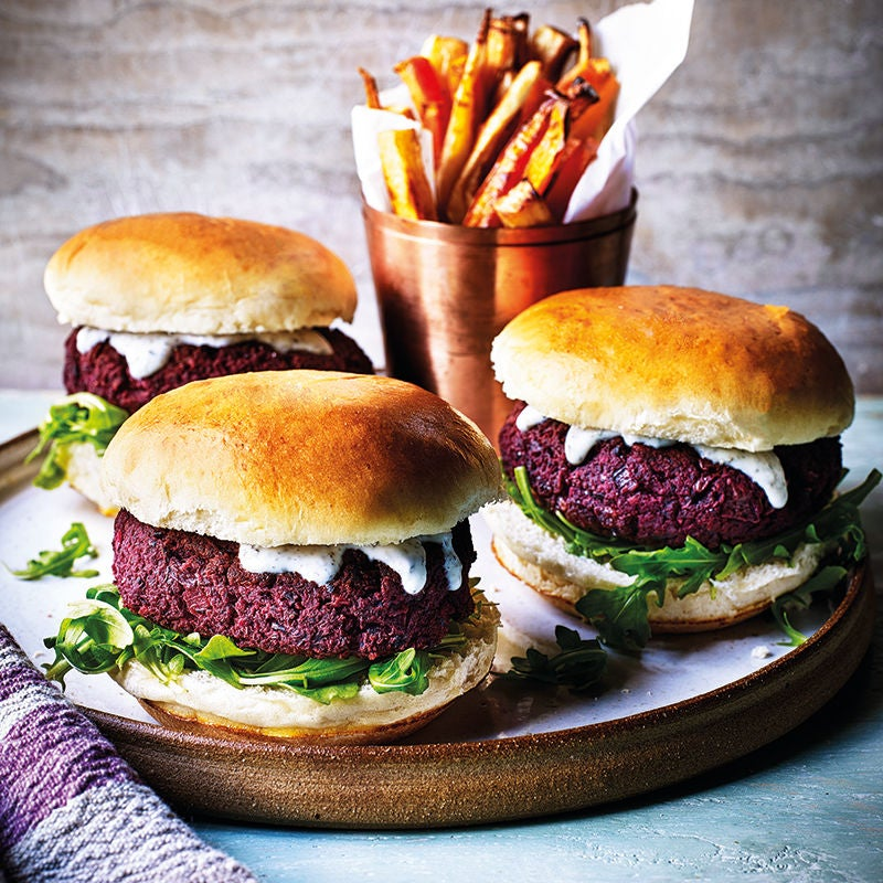 Photo of Beetroot & bean burgers with veggie chips by WW