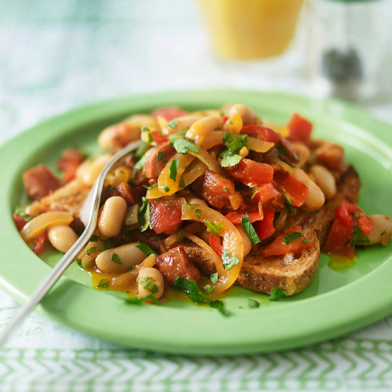 Photo of Cannellini beans & chorizo on toast by WW