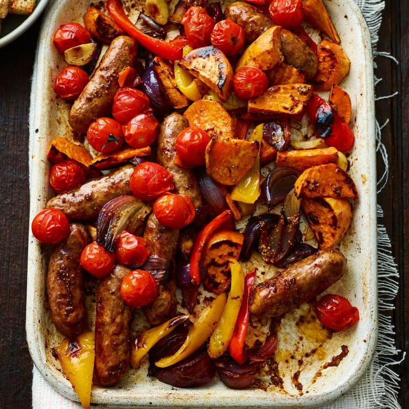 Photo of Sausage & sweet potato traybake by WW