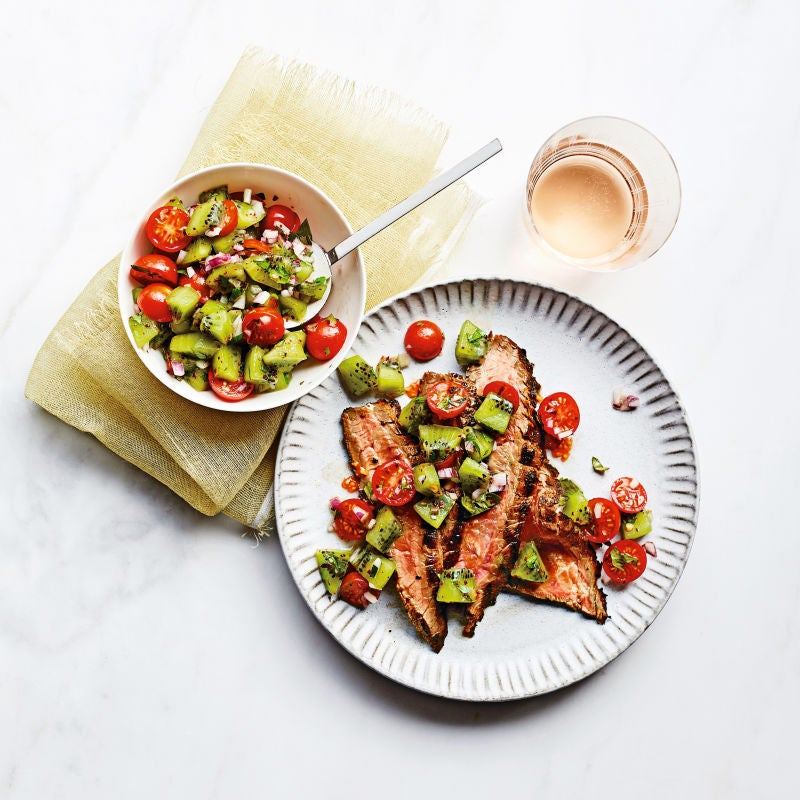 Photo of Grilled steak with kiwi fruit salsa by WW