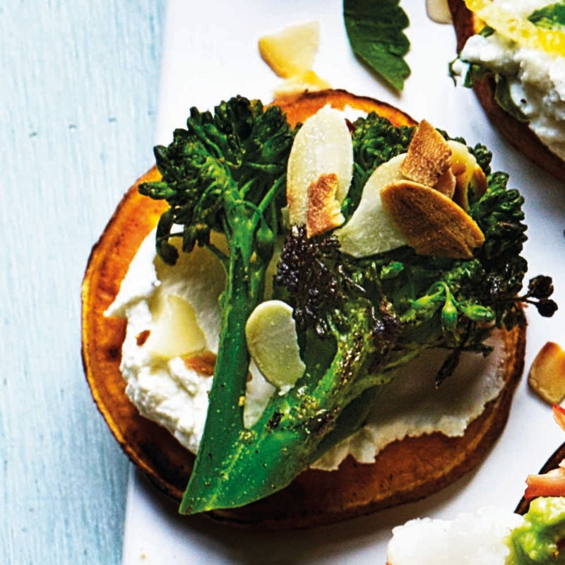 Photo of Sweet potato toasts with roasted broccoli & almonds by WW